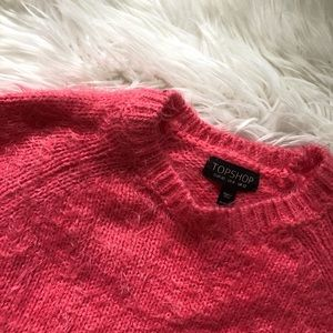 Cropped Fuzzy Sweater Topshop